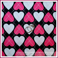BonEful Fabric FQ Flannel Plaid Argyle Pink White Heart Valentine Cross Dot RARE