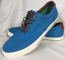 Polo Ralph Lauren Vaughn Fashion Sneakers Size 14 D Blue Canvas Leather Trim