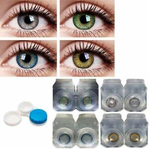 Combo Pack of 4 Pairs of Monthly Color Contact Lenses Zero Power With Cases