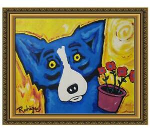 GEORGE RODRIGUE - AMAZING Blue Dog /  /signed / Oil cardboard painting