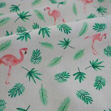 50x150cm Cotton Linen Fabric ZAKKA DIY Caft Material  Green Leaf Pink Flamingo F