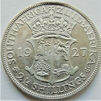 1927 SOUTH AFRICA, George V silver 2 1/2 Shillings grading  Abt VF / VERY FINE.