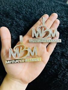 14k Gold Finish MBM Motivated By Money Simulated Diamond Pendant w/ Rope Chain