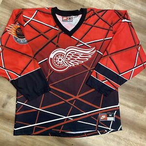 DETROIT RED WINGS VINTAGE 90s NIKE NHL STREET HOCKEY JERSEY MEDIUM