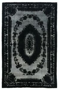 7x11 Ft Black Color Re-Dyed Vintage Hand-Knotted Rug for Contemporary Interiors