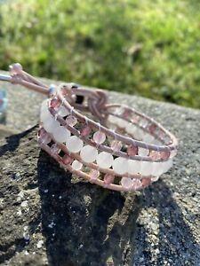 Rose Quartz Pink Leather Beaded Wrap Bracelet Cuff Bracelet USA NEW