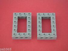 Lego Technic  2 Light Bluish Gray bricks 4x6 Open Center Neuves / New REF 40344