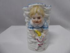 Vintage Bisque Child holding Doll Clown on Basket Holder Germany?