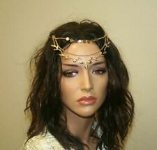 Women's Hair Accessories, Gold Chain with Coins and Leaves