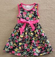 Girls Floral Summer Dress - Age 3 4 5 6 7 Yrs Kids New Pink Ribbon Party Clothes