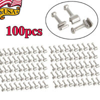 100Pcs Dental Orthodontic Stainless Steel Crimpable Hook Long Type USA Ship