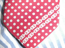 Unworn Carlo Dini Designs Silk Tie Dark Red With Grey Polka Dots & Chain Design