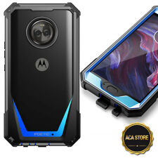 Rugged Protective Case For Motorola Moto X4 [Clear Hybrid Bumper] Cover Blue