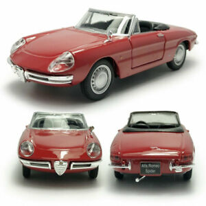 1:32 Vintage Alfa Romeo Spider Model Car Diecast Vehicle Red Collection Gift New