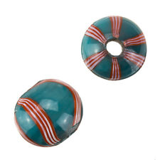 Large Turquoise And Red Wavy Striped Round Glass Beads 20mm Pack of 2 (B74/19)