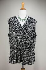 2X WORTHINGTON Knit Top Black Abstract Ivory Cross Front Silky Liquid Travel