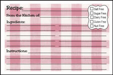 RECIPE CARDS - NO.101 - SIZE 4 X 6 INCH RED & WHITE TABLECLOTH DESIGN SET OF 48
