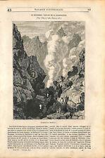 Cratère de la Soufrière volcan de la Guadeloupe aux Antilles France GRAVURE 1843