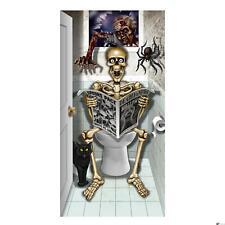 Forum Bathroom Skeleton on Toilet Halloween 80cm x 150cm Door Cover