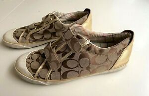 COACH Britt Signature Canvas Gold Leather Hook and Loop Sneakers size 8 1/2