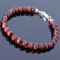 Strength Bracelet Energy Red Tiger's Eye Gemstones Raw Reiki Root Chakra Stones