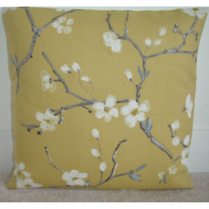 """16"""" Cushion Cover Yellow Ochre 16x16 Flower Blossom Branches Brown"""