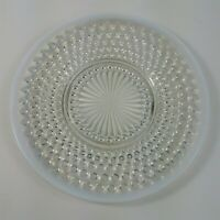 Moonstone Plate 8 1/2 Inch Luncheon Anchor Hocking White Opalescent Hobnail 40s