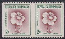 DOMINICAN REPUBLIC, 1957-58. Flower 489 V. Imperf pair, Mint