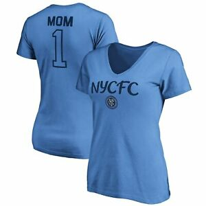 New York City FC Fanatics Branded Women's #1 Mom V-Neck T-Shirt - Sky Blue