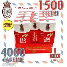 4000 Cartine BRAVO REX CORTE 100 libretti + 1500 FILTRI SLIM 6mm RUVIDI 1 BOX
