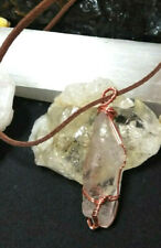 Necklace  Large Quartz Crystal Point Copper Wire Wrapped for women or men