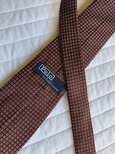 Ralph Lauren Polo Maroon & Silver Polka Dot Silk Neck Tie Mint! Slim Fit NEW