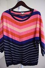 Talbots Nylon Blend Multi-Colored Striped Crew-neck Sweater Size - Large