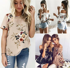 UK Summer Women Casual Tops Blouse Off Shoulder & Crew Neck Floral Loose T-Shirt
