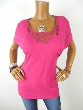 CHICO'S Sz 3 Womens Top L XL Cotton Shirt Casual Blouse Pink Crochet Short Slvs