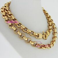 Real Solid Women Girl 18k Yellow Gold GF Necklace Belcher Chain Bolt Rings Clasp