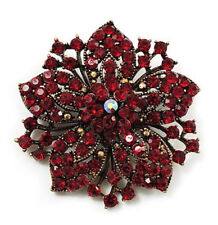 Vintage Ruby Red & Antique Gold Rhinestones Flower Shaped Brooch Pin