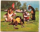 Last Hole Print Dogs Playing Golf Poster Saint Chateaux Galleries #1573 1986 New