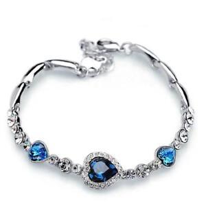 18K White Gold Filled Fashion Women Blue Heart Charm Chain Bracelet New Jewelry