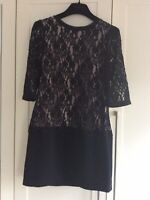 STUNNING Ted Baker Ladies Black / Nude Lace Bodice Dress Size 1 UK 8 Ex Con