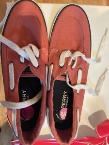 Sperry top-sider women Size 8.5 Halyard 2 eye Orange Canvas boat shoes
