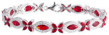 Sterling Silver 925 Flower Womens Red and White CZ Stone Bracelet 7mm Wide