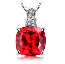 Cushion cut red ruby & created diamond white gold finish necklace 18inch