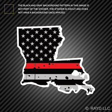 Distressed Thin Red Line Louisiana State Shaped Subdued US Flag Sticker fire LA