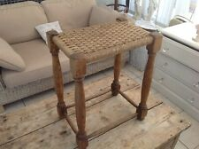 "Art And Crafts Stool with Oak Turned legs Woven Rush Seat 22"" high x 12"" x 18"""