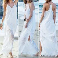 Women Spaghetti Strap Long Maxi Dress Lace Crochet Summer Beach Party Sundress