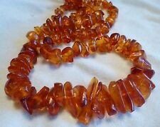 "Vintage Baltic Amber Honey Cognac Beads Necklace 86 gr Old Antique 32"" Long"