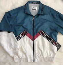 Vintage Head Tennis Ski Abstract White Zip up Jacket Windbreaker Mens Sz Large