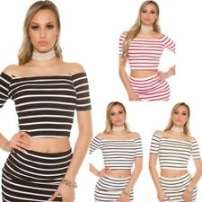 Gestreifte Damenblusen, - tops & -shirts im Stil Bauchfreien Normalgröße