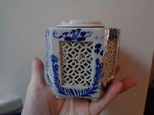 Esagonale cinese floreale blu e bianco latice Pennello/vaso bonsai?